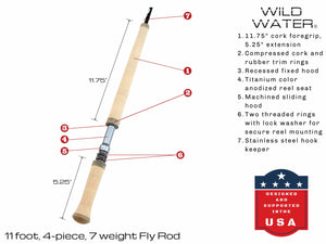 Wild Water Fly Fishing Complete 7 Weight Switch Rod Starter Package with Steelhead Flies