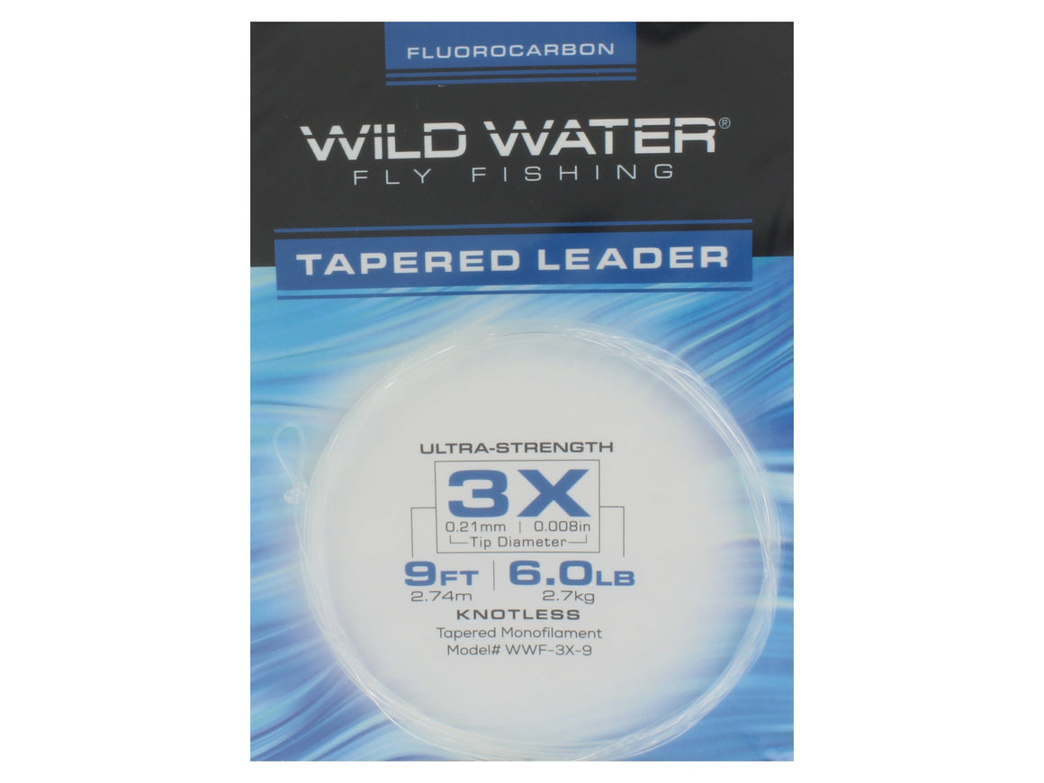 Fluorocarbon Tapered Leader 3X | Wild Water Fly Fishing