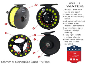 9 Foot, 8 Weight Reel, 7 Piece Fly Rod Package | Wild Water Fly Fishing