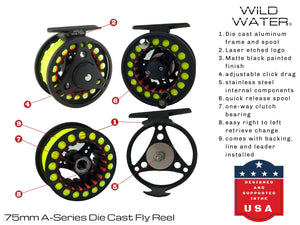 Wild Water Fly Fishing Complete 3/4 Fly Fishing Starter Package (7' Fly Rod)