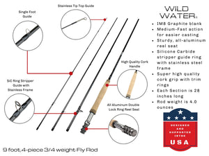 Deluxe 3/4 Fly Fishing Rod Kit | Wild Water Fly Fishing