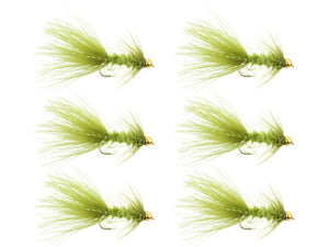 Wild Water Fly Fishing Olive Wooly Bugger w/ Bead Head, Size 10, Qty. 6