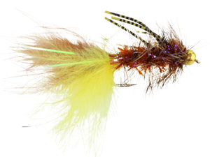 Yellow and Brown Rubber Leg Bead Head Wooly Bugger Fly | Wild Water Fly Fishing