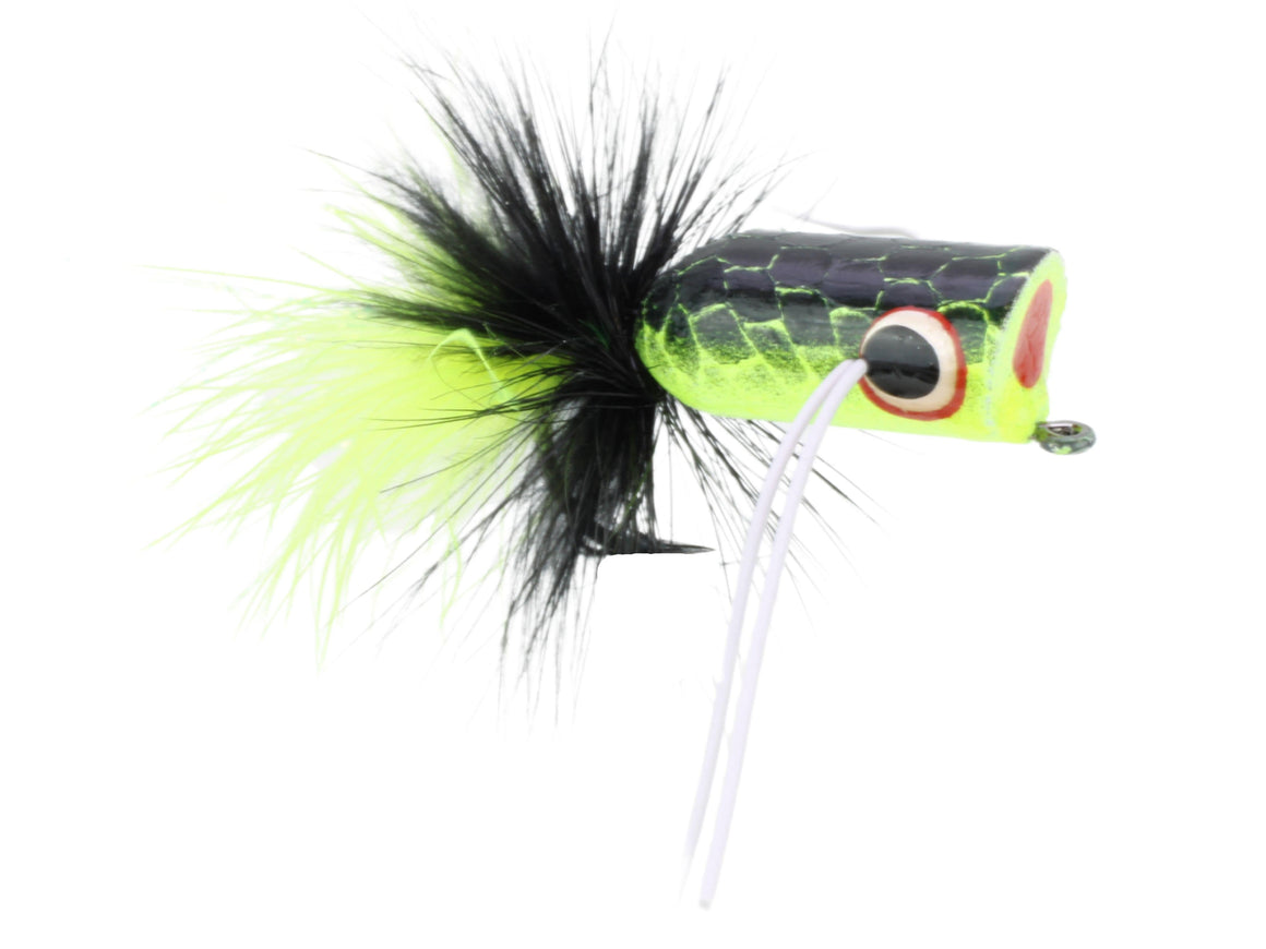 Wild Water Fly Fishing Chartreuse and Black Bass Popper by Pultz Poppers, Size 2, Qty. 4