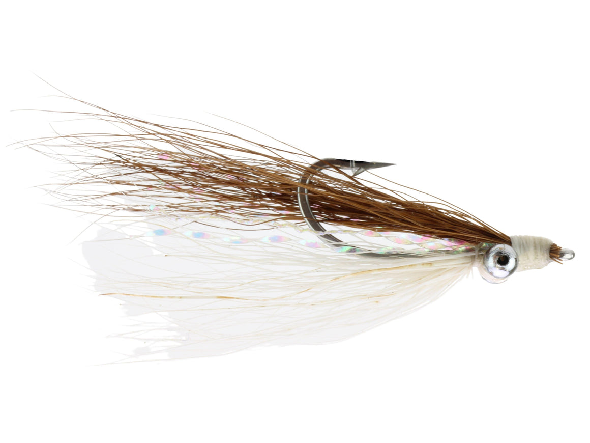 Brown and White Clouser Minnow Fly | Wild Water Fly Fishing