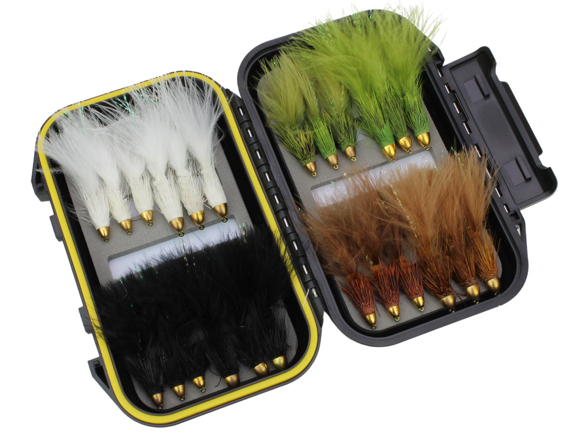 Cone Head Wooly Buggers for Bass & Trout - 24 Flies with Small Box