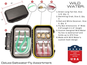 Wild Water Fly Fishing DELUXE 7/8 Fly Fishing Starter Package with Saltwater Flies