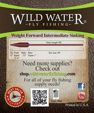 Weight Forward 9 Weight Intermediate Sinking Fly Line - Wild Water Fly Fishing