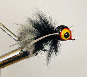 Wild Water Black and White Skunk Rollie Pollie Popper, Size 4, Qty. 4, by Pultz Poppers - Wild Water Fly Fishing