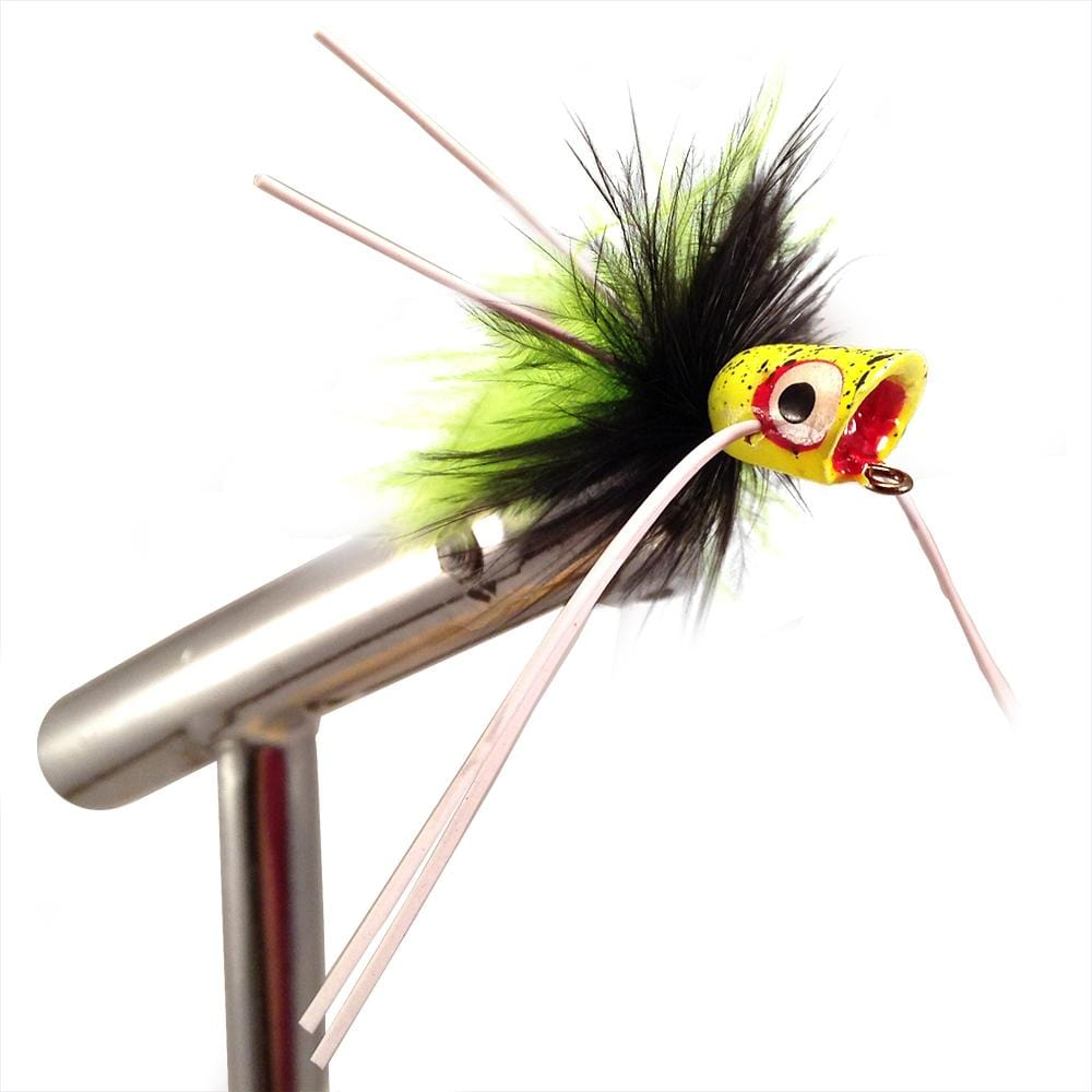 4 Wild Water Black and Chartreuse Little Fatty Popper Size 4 by Pultz Poppers Qty