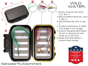 Wild Water Fly Fishing Complete 7/8 Fly Fishing Starter Package with Saltwater Flies