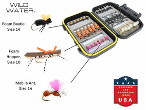Terrestrial Fly Assortment with Small Fly Box | Wild Water Fly Fishing