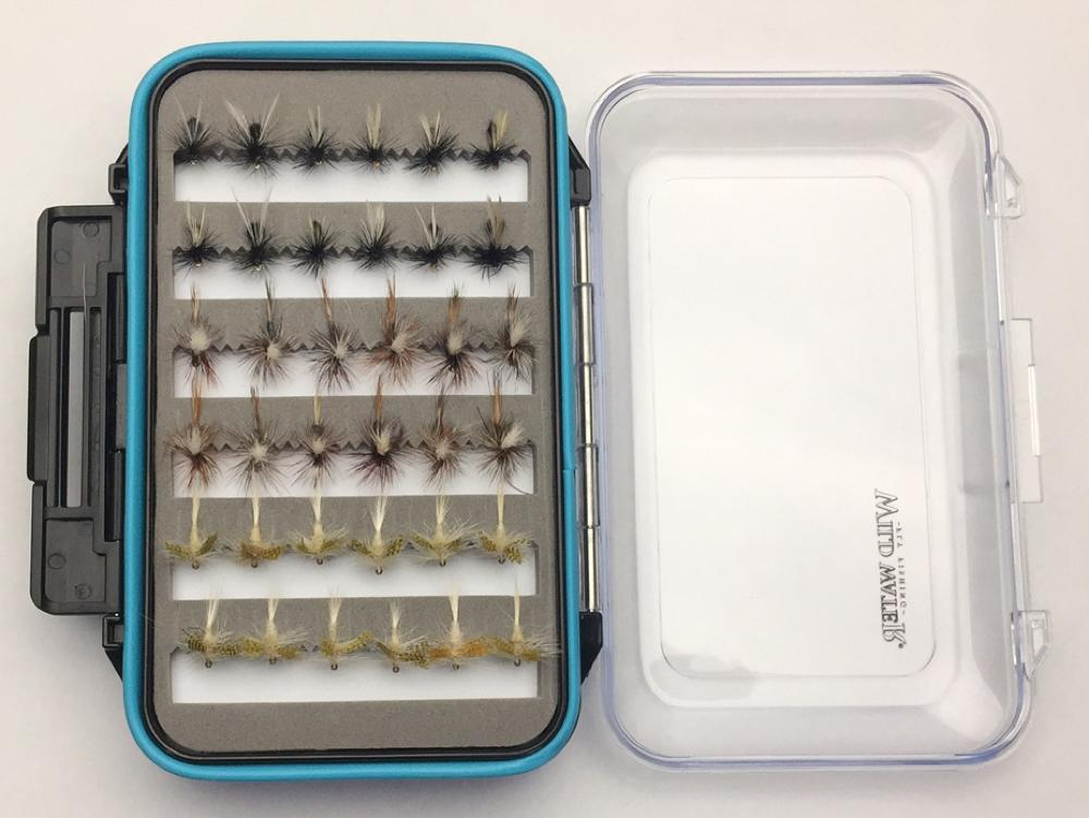 Wild Water Dry Fly Assortment, 72 Flies with Large Fly Box