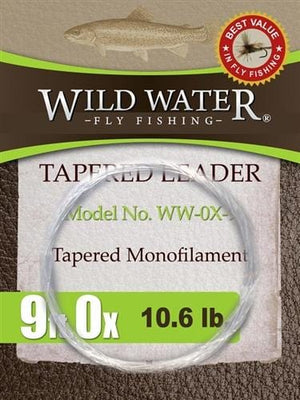 9' Tapered Monofilament Leader 0X, 3 Pack