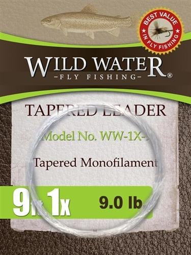 9' Tapered Monofilament Leader 1X, 6 Pack - Wild Water Fly Fishing