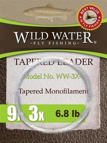 9' Tapered Monofilament Leader 3X, 6 Pack - Wild Water Fly Fishing