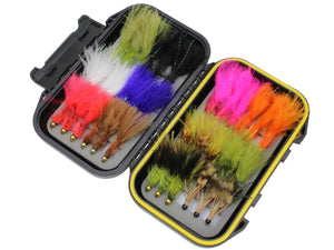 Products Wild Water Fly Fishing Wooly Bugger Fly Assortment, 36 Flies with Small Fly Box