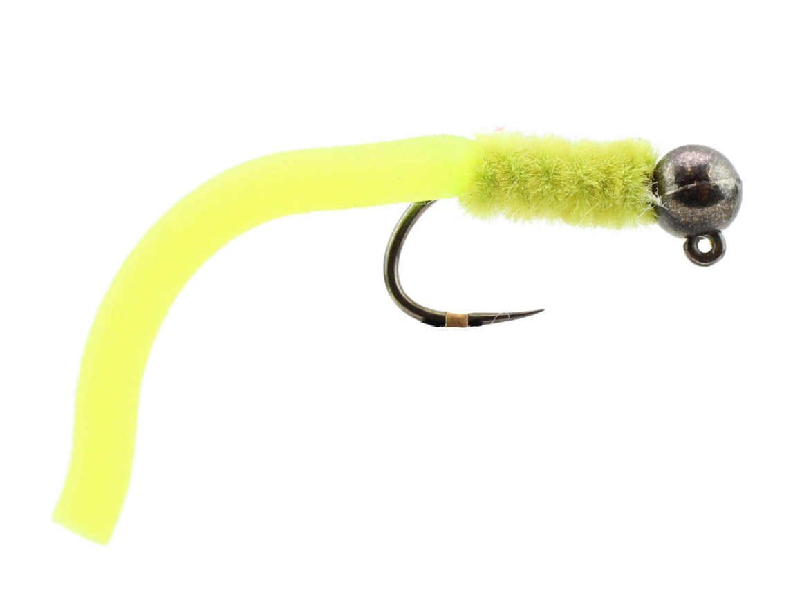Wild Water Fly Fishing Tungsten Bead Head Yellow Squirmy Worm, Size 12, Qty. 6