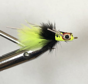 Wild Water Chartreuse and Black Snub Nose Slider Popper by Pultz Poppers, Size 6, Qty. 4 - Wild Water Fly Fishing