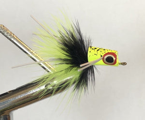 Wild Water Chartreuse and Black Snub Nose Slider Popper by Pultz Poppers, Size 8, Qty. 4 - Wild Water Fly Fishing