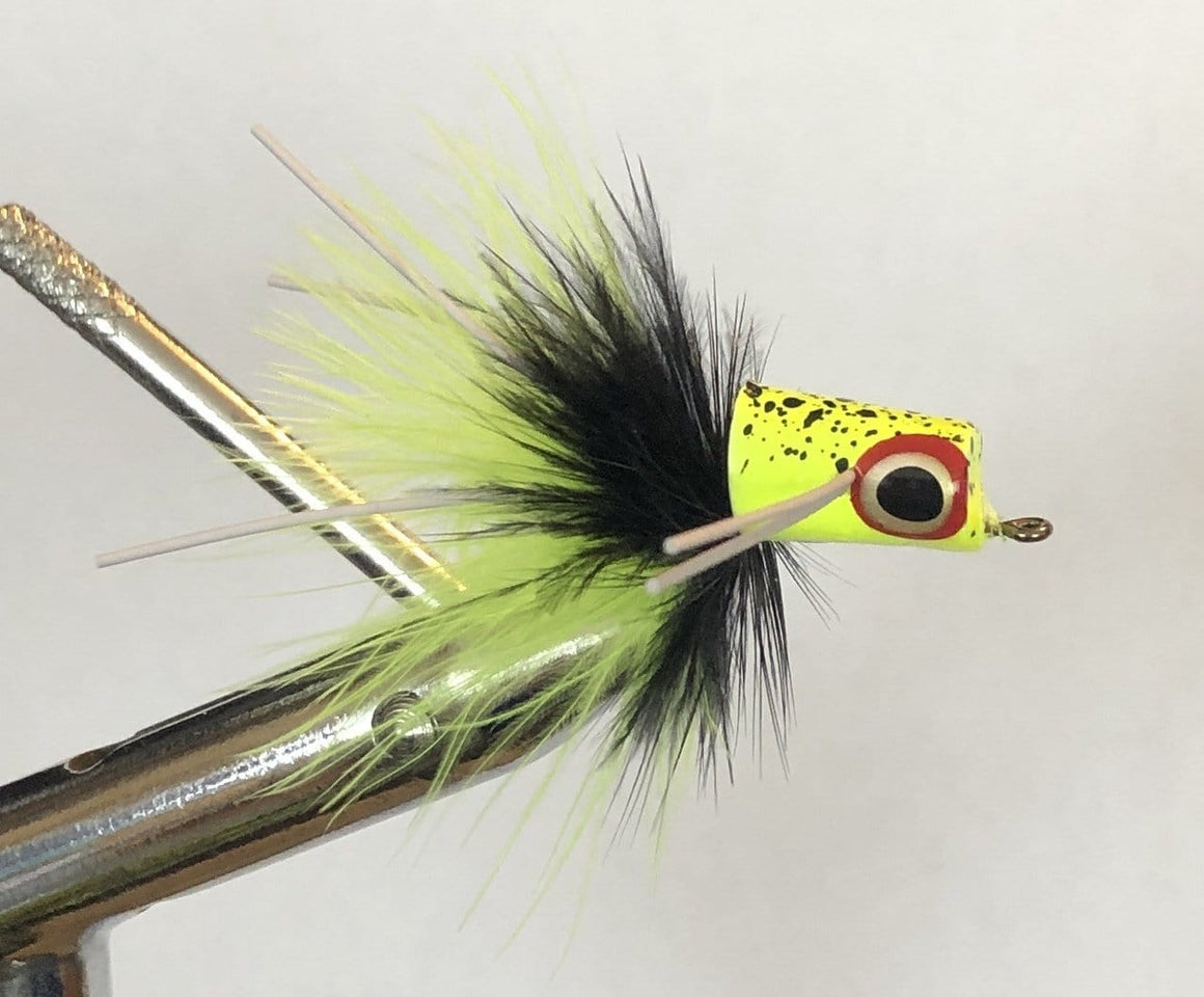 Wild Water Chartreuse and Black Snub Nose Slider Popper by Pultz Poppers, Size 8, Qty. 4