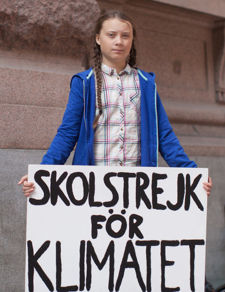 Greta Thunberg outside parliament house in Stockholm