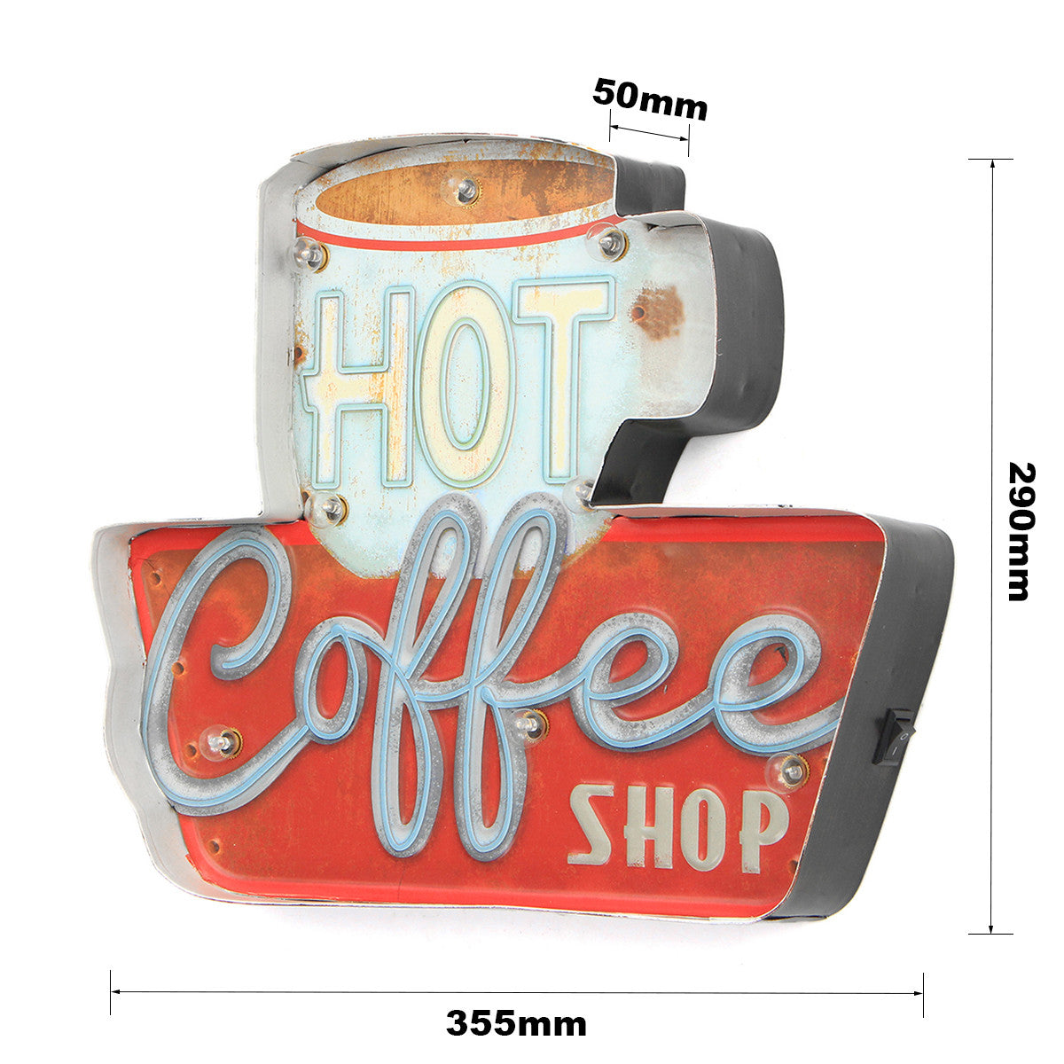 Hot Coffee Shop LED Metal Neon Light Vintage Sign - KindBrew Coffee