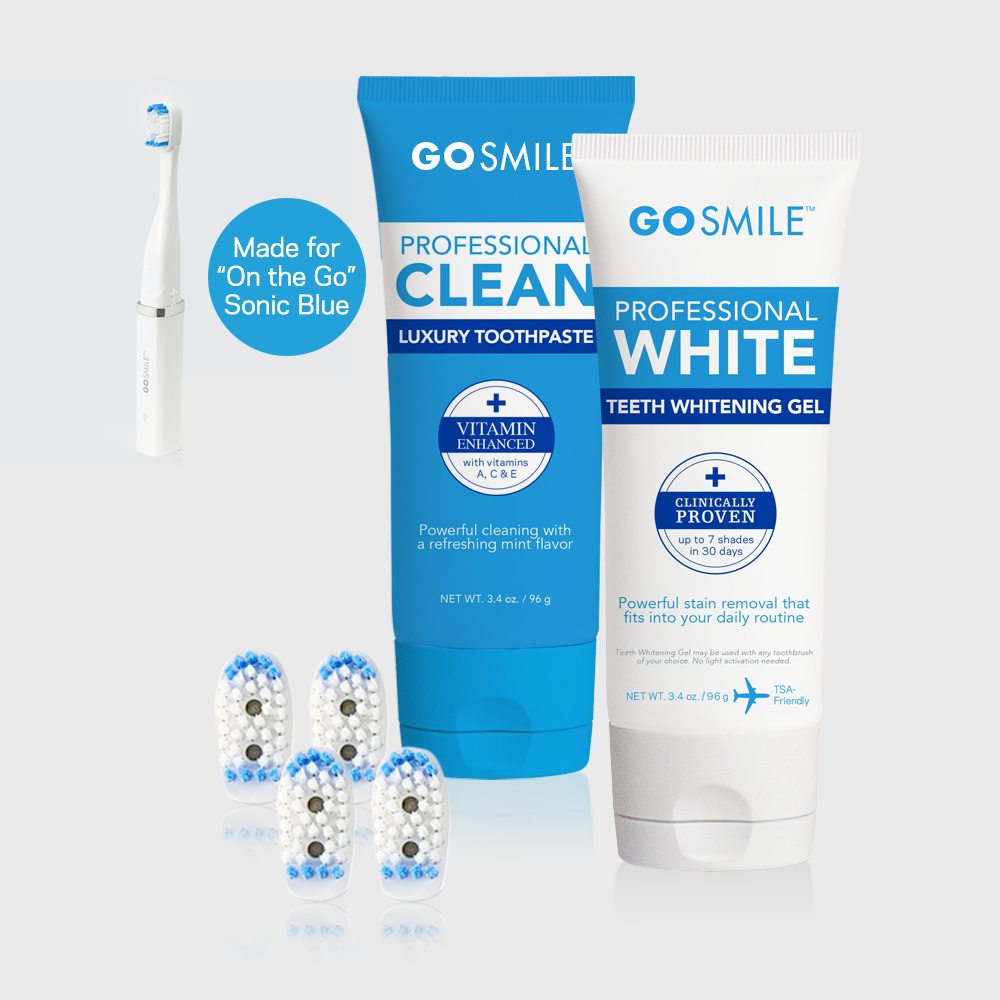 On The Go® Sonic Blue Replenish Pack (Heads, Whitening Gel & Toothpaste)