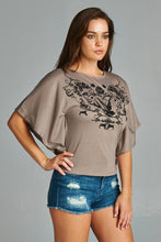 Women's Flock Screen Cape Sleeve Top