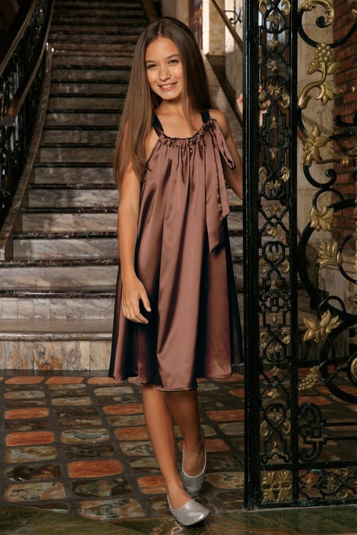 Chocolate Brown Charmeuse Halter Swing Party Dress