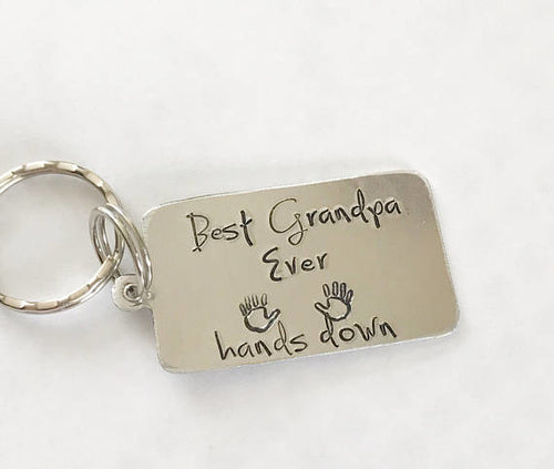 Gifts for men - Hand stamped keychain -