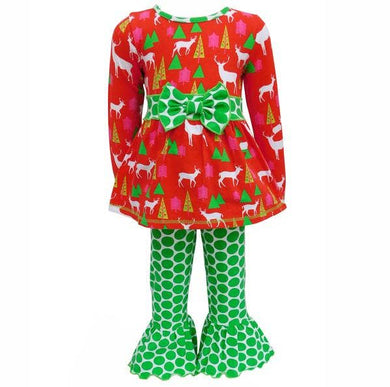 AnnLoren - Red Deer And Green Polka Dot Two-Piece Outfit Set