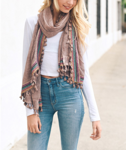 Boho Multi-Color Tassel Trim Rose Scarf