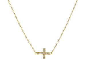 Golden Sideways Cross Necklace