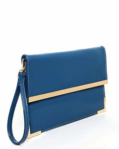 Gold Metal Trim Blue Clutch