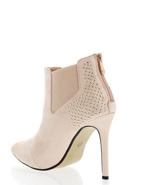 Studded Back Beige Ankle Boots