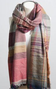 Beautiful Pink Mix Plaid Winter Long Fringe Scarf