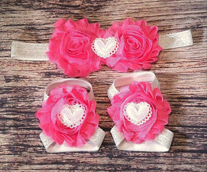 Pink with White Sparkle Hearts Headband and