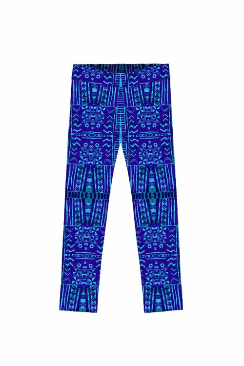 Maya Lucy Blue Aztec Print Leggings - Girls