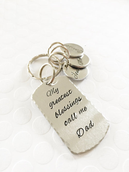 My greatest blessings - Hand stamped keychain -