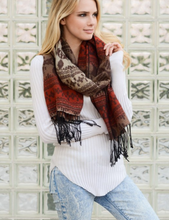 Rust Mix Boho Tribal Winter Scarf