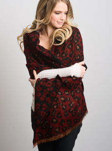 Red Leopard Print Blanket Scarf