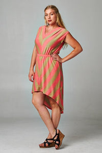 Women's Plus Size Chevron Stripe Hi-Low Dress