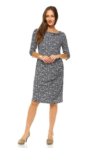 Women's Cowl Neck Drape Dress with Floral Patterns