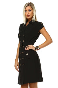 Women's Button Up Waist Tie Dress