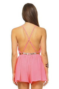 Women's Open Back Neon Romper with Gold Belt