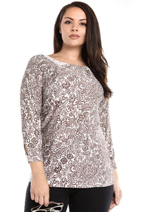 Women's Plus Size Printed Long Sleeved Tunic With