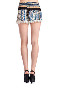 Women's Printed Rayon Shorts with Scallop Lace