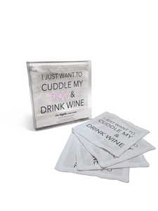 4 Linen Cocktail Napkins- Cuddle Dog Drink Wine
