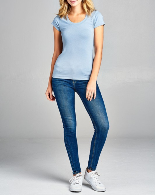 Simple Light Blue Round Neck T-Shirt
